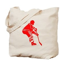 Red Hockey Player Tote Bag