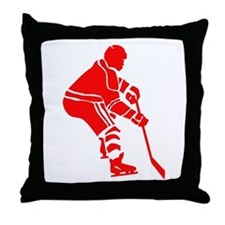 Red Hockey Player Throw Pillow