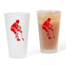 Red Hockey Player Drinking Glass