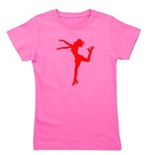 Red Figure Skate Silhouette Girl's Tee