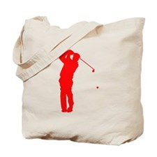 Red Golfer Silhouette Tote Bag