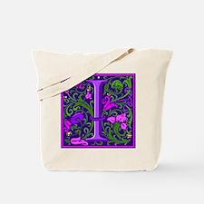 Floral Initial I Tote Bag