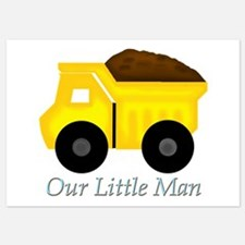 Our Little Man Dump Truck Invitations