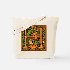 Floral Initial H Tote Bag
