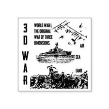 "Three Dimensional War Square Sticker 3"" x 3"""