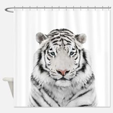 White Tiger Head Shower Curtain