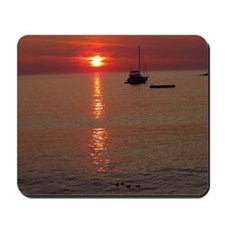 Sunrise with boat and ducks Mousepad