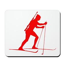 Red Biathlete Silhouette Mousepad