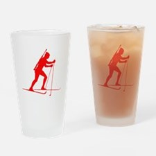 Red Biathlete Silhouette Drinking Glass