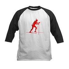 Red Biathlete Silhouette Baseball Jersey