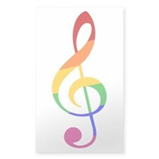 Rainbow Music G Clef Decal
