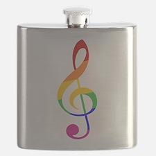 Rainbow Music G Clef Flask