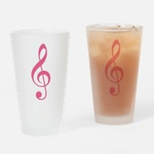 Pink Music G-Clef Drinking Glass