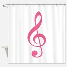 Pink Music G-Clef Shower Curtain
