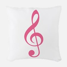 Pink Music G-Clef Woven Throw Pillow