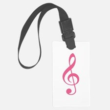 Pink Music G-Clef Luggage Tag