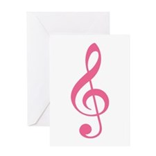 Pink Music G-Clef Greeting Card