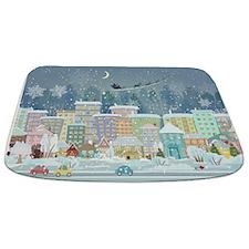 Snowy Urban Christmas Village Bathmat
