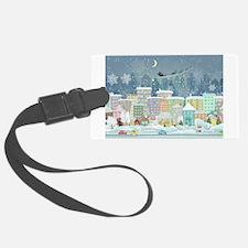 Snowy Urban Christmas Village Luggage Tag