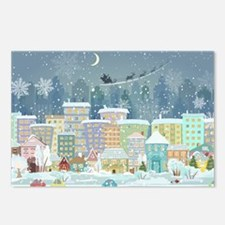 Snowy Urban Christmas Vil Postcards (Package of 8)