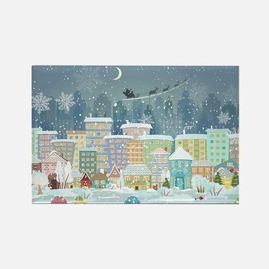 Snowy Urban Christmas Village Rectangle Magnet