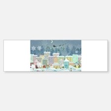 Snowy Urban Christmas Village Bumper Bumper Sticker
