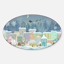 Snowy Urban Christmas Village Decal