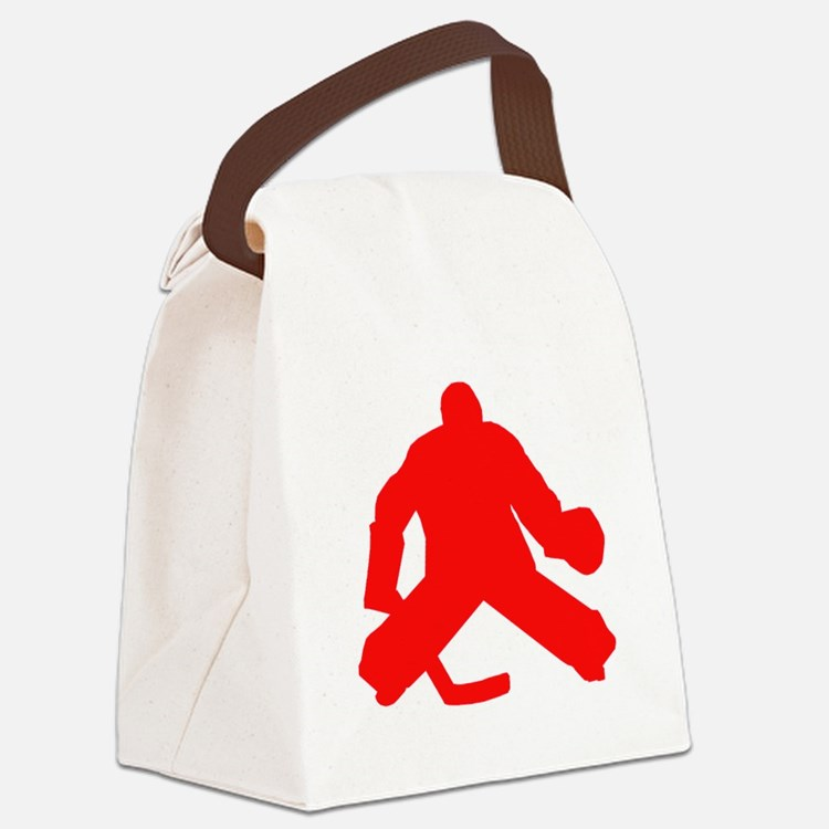 Red Hockey Goalie Canvas Lunch Bag