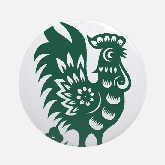 Rooster Chinese Astrological Zodi Ornament (Round)