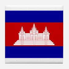 Cambodia Flag Tile Coaster
