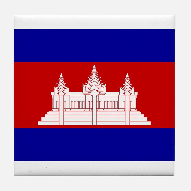 Cambodia Flag Tile Coaster