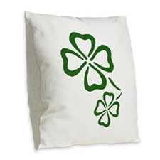 Four Leaf Clovers Burlap Throw Pillow