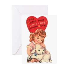 Vintage little lamb illustration Greeting Cards
