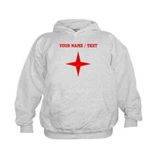Custom Red Four Point Star Hoodie