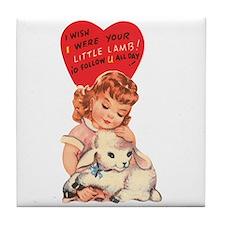Vintage little lamb illustration Tile Coaster