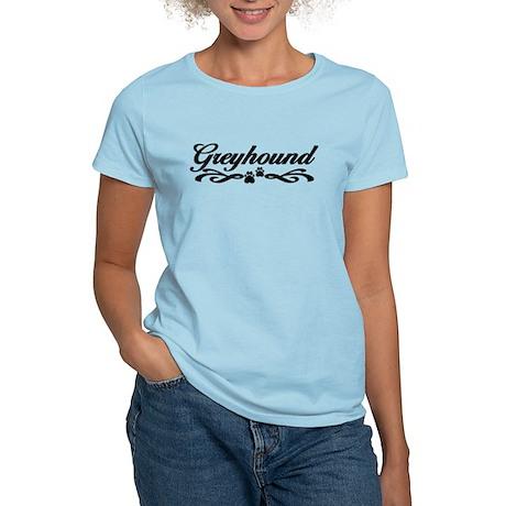 Fancy Greyhound Script w/Paws Women's Light T-Shir