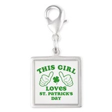 This Girl Loves St. Pat's Silver Square Charm