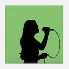 Female Singer Green Bedroom Tile Coaster