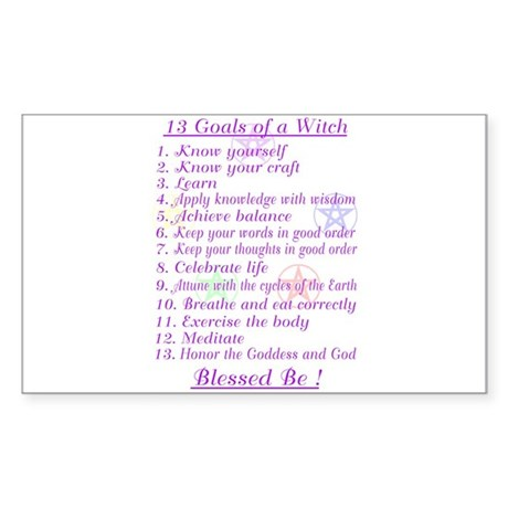 13 Goals of a Witch Rectangle Sticker