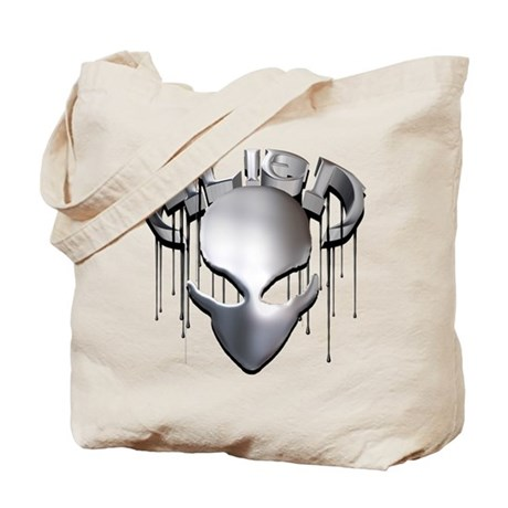 Alien with Logo Molten Steel Tote Bag