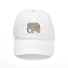 Floral Elephant Silhouette Baseball Baseball Cap