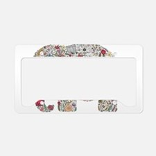 Floral Elephant Silhouette License Plate Holder