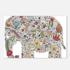Floral Elephant Silhouette Postcards (Package of 8