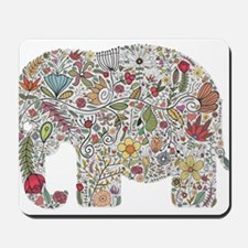 Floral Elephant Silhouette Mousepad