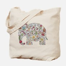 Floral Elephant Silhouette Tote Bag
