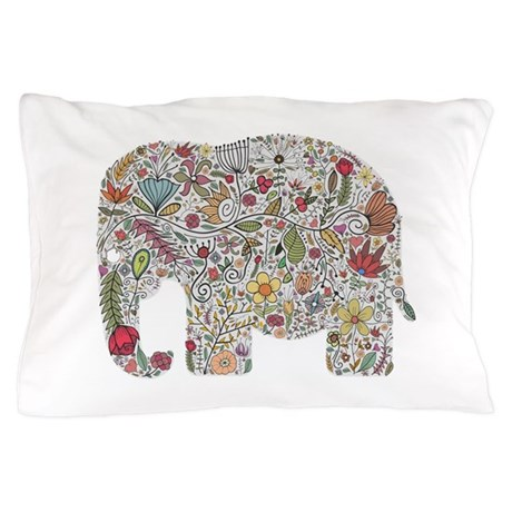 Floral elephant silhouette pillow case by for White craft pillow cases
