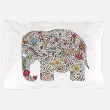 Floral Elephant Silhouette Pillow Case