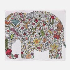 Floral Elephant Silhouette Throw Blanket
