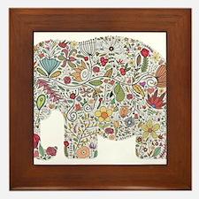 Floral Elephant Silhouette Framed Tile