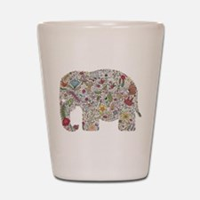 Floral Elephant Silhouette Shot Glass